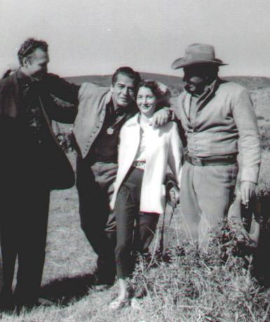 Uncle Cecil Null, Vic, Mom Freda, Dad Fred Carson during the filming of Escort West