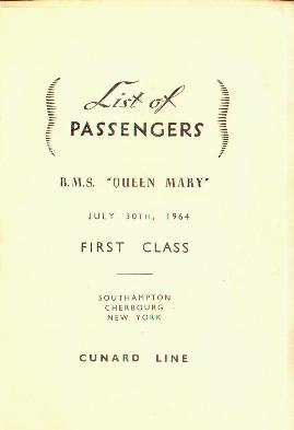 Queen Mary Passenger List